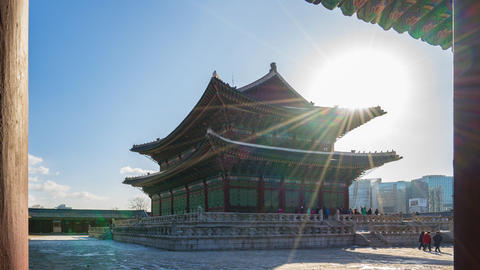 Gyeongbokgung Palace in Seoul, South Korea Time Lapse 4K Live Action