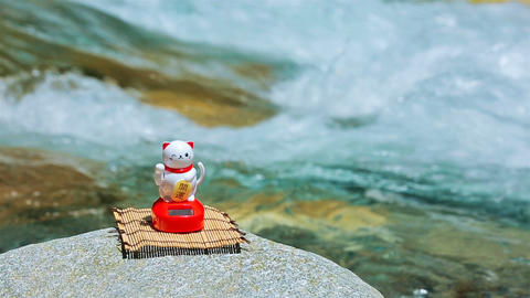 The maneki-neko on the shore of a mountain river Footage