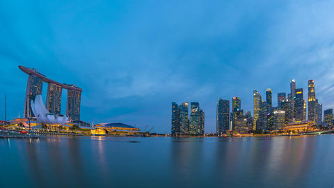 Day to Night Time Lapse video of Panorama view of Singapore city landmark in Live Action