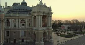 Drone flies slowly towards the Odessa Opera Archivo