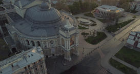 Drone climbs away from the Odessa Opera Theatre Footage