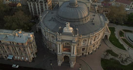 Drone spins around the front of Odessa Opera Theatre Footage