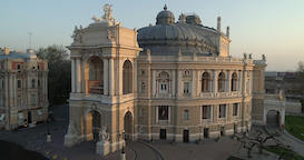 Drone flies away from the Odessa Opera Theatre Footage
