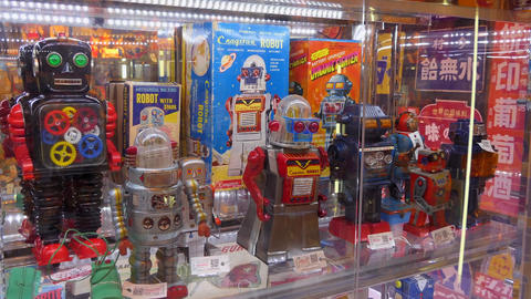 Old Robots Collectibles Memorabilia Vintage Toys In Store Tokyo Japan Live Action