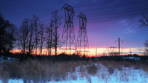 Night sky clouds sunset power lines Footage