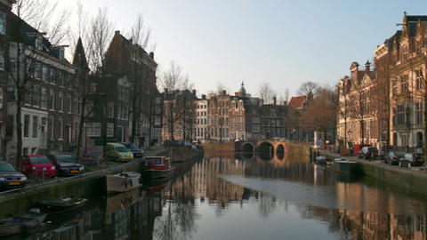 City View Of Amsterdam Canal The Netherlands Holland Early Morning Footage