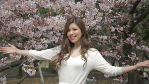 Beautiful young Japanese women welcomes you to Japanese sakura cherry blossoms m Footage