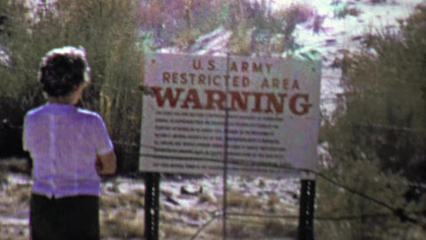1957: US Army restricted area warning puzzle rebellious woman Footage