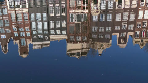 Traditional Homes Houses Buildings Reflection Amsterdam City Town Water Canal Footage