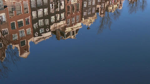Urban Landscape Amsterdam The Netherlands Holland Water Canal Home Building Footage