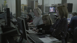 Employees of the TV Studio in the control room of a TV broadcast Footage