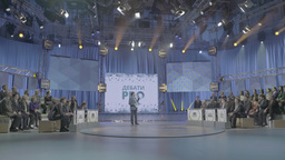TV Studio with the audience and a presenter Footage