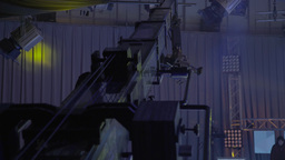Camera on a crane during recording of live broadcasts in the TV Studio Footage