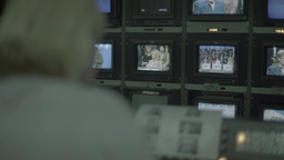 Control room live with multiple TV monitors Footage