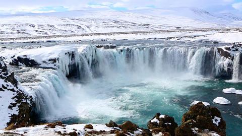 Waterfall Godafoss in Iceland Footage