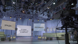 Empty TV Studio before a live broadcast Footage