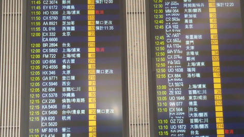 Schedule at the airport of Hong Kong Footage