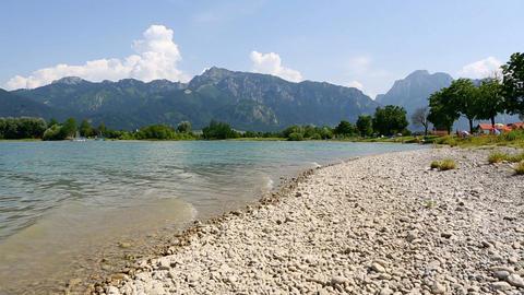 Bavarian lake Forggensee in summer Footage