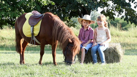 Little girl and boy with pony horse on farm Footage