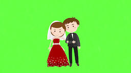 Happy wedding Cartoon happy valentine day wedding kiss wedding invitation Kiss Footage
