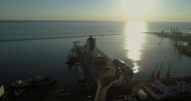 Aerial camera tilts up from the Potemkin Steps to Odessa Port Footage