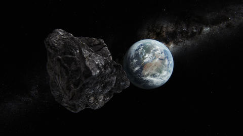 Asteroid approaching planet Earth CG動画素材