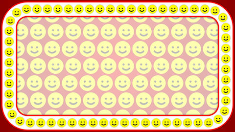 Smile happy red background rectangle frame Animation