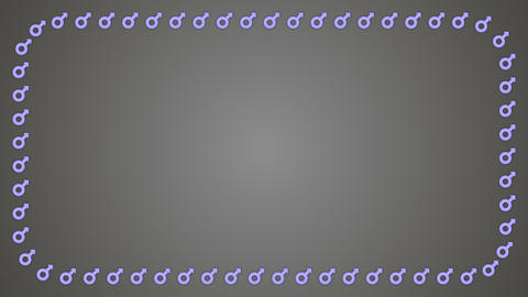 Mars gender male grey background rectangle frame Animation