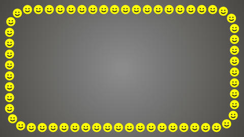 Smile happy grey background rectangle frame Animation