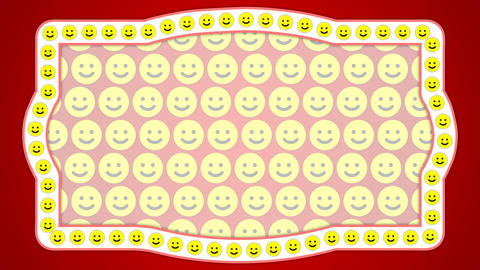 Smile happy red background vintage frame Animation