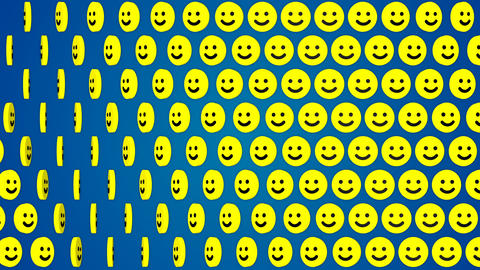 Smile happy blue background rotating smiles Animation