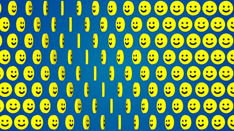 Smile happy blue background rotating smiles Stock Video Footage