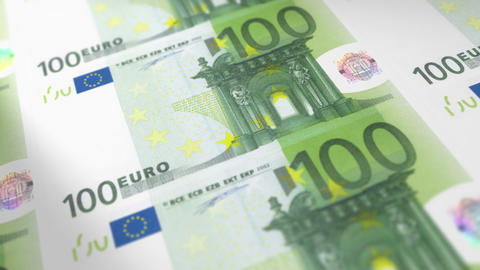 Money Printing 100 EURO Bills Loop Animation