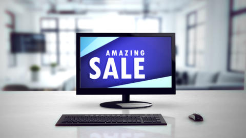 Computer monitor with the inscription Amazing Sale. Big sale, hot sale, best Animation