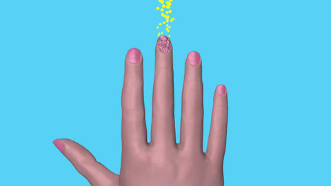 Finger nail fungus treatment, healing. 3d animation Stock Video Footage
