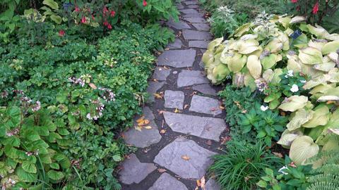 Walk along stone path in garden Footage