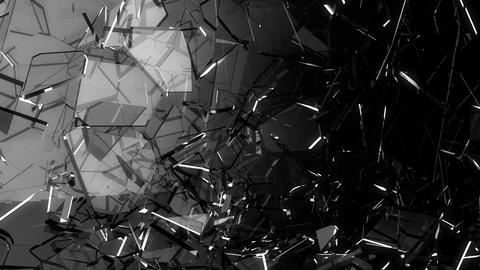 Pieces of Shattered glass in slow motion. Alpha matte, 3d render, 3d animation Animation