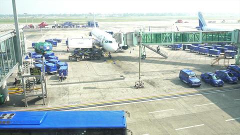 Aeroplane standing at Kolkata airport GIF