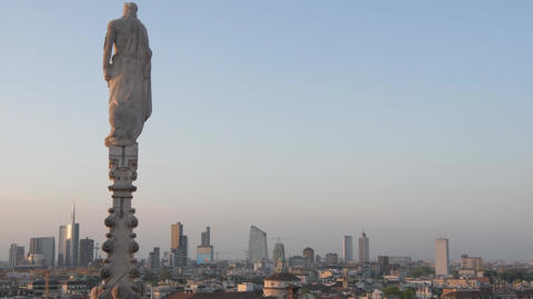 Milan skyline with the financial district seen from the Duomo Terrace at sunset Live Action