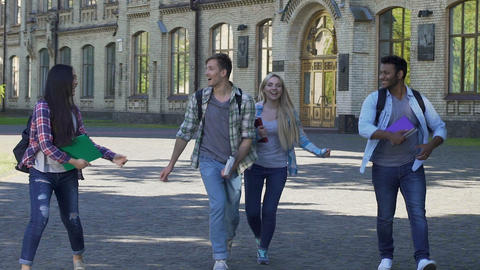 Cheerful multi-ethnic students enjoying successful test results and jumping Footage