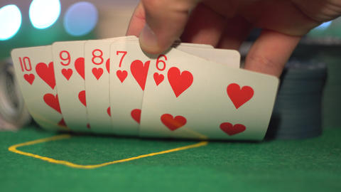 Straight Flush, Poker Cards Footage