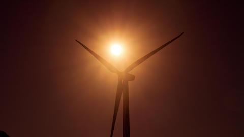 Wind Turbine in a large wind farm in California Footage