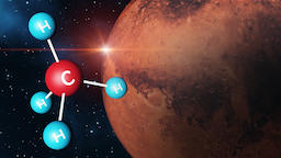 Methane Molecule with Mars Background Photo