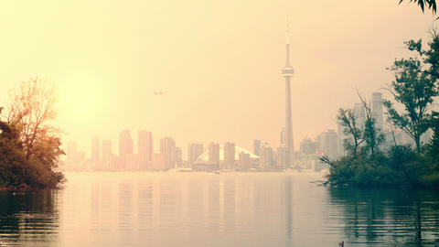 Toronto Skyline view from the Island Footage