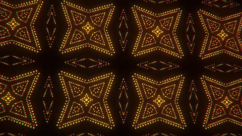 Gold Glowing Led Particles Kaleidoscope VJ Loop Motion Background V2 Animation