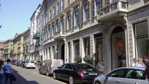 Milan, Italy Via Monte Napoleone fashion district ビデオ