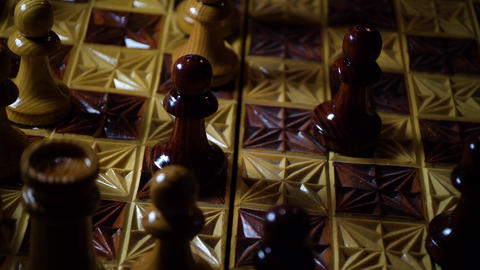 Wooden carved chessboard with figures Live Action