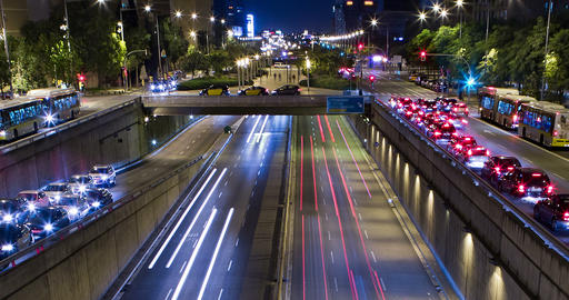 Cinemagraph of night scene of urban traffic.Time Lapse Footage