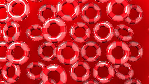 Red swim rings on red background, CG動画素材
