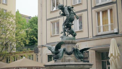DRESDEN, GERMANY - MAY 2, 2018. Gansediebbrunnen or Goose Thief fountain in city Live Action